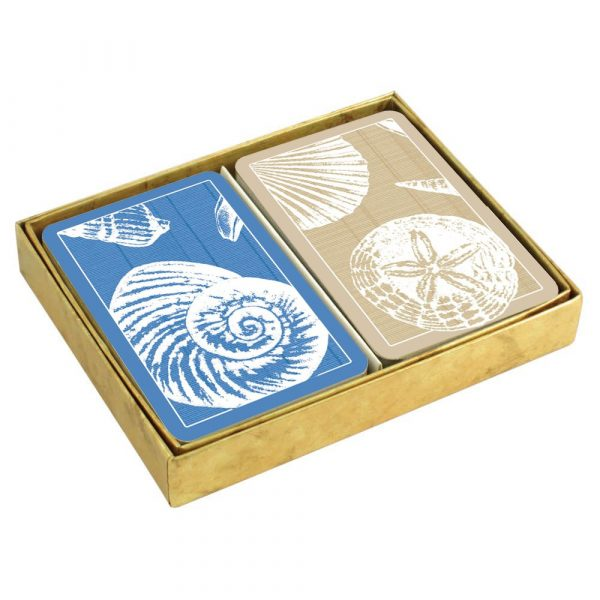 caspari shells presentation boxed playing cards
