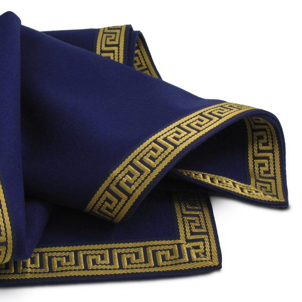 extra large greek key blue wool baize cloth
