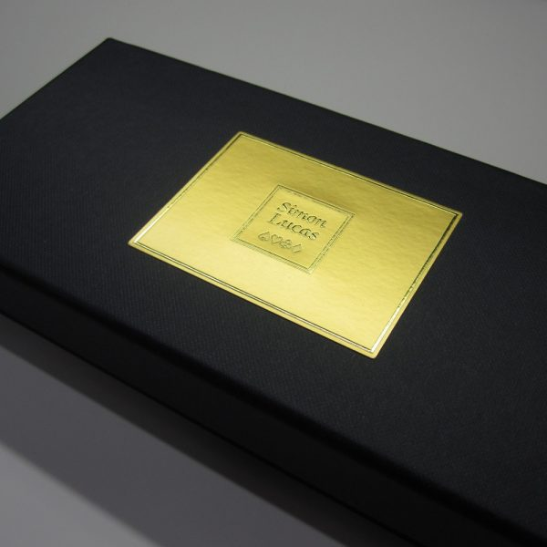 Close up detail of luxury score card box