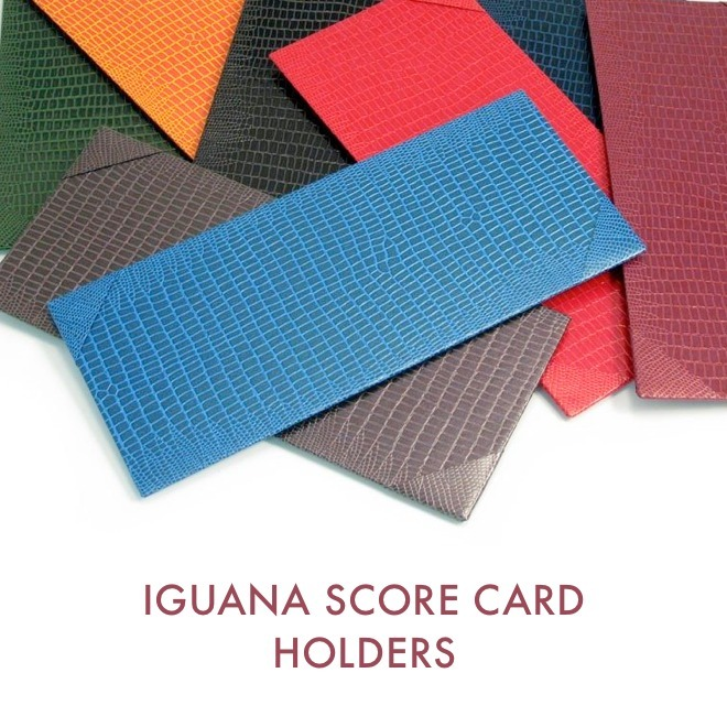 Click to see our handmade iguana score card holders