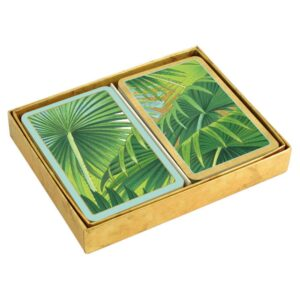 caspari collectible bridge playing cards palm fronds boxed