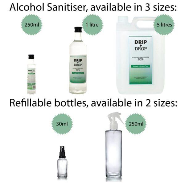 Alcohol Sanitiser and Refillable Glass Bottles