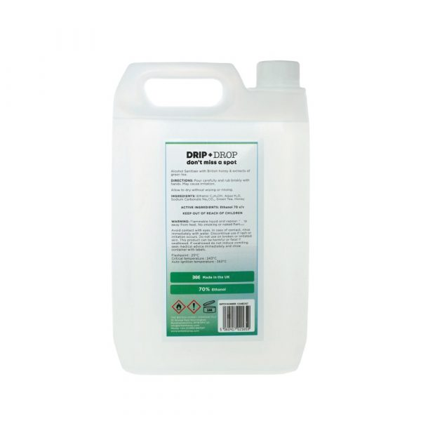 DRIP+DROP Sanitiser with British Honey & Extracts of Green Tea, 5L