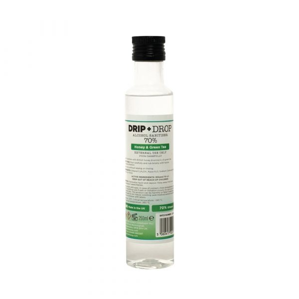 DRIP+DROP Sanitiser with British Honey & Extracts of Green Tea, 250ml
