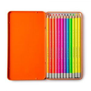 Set of 12 Neon Colour Pencils in a Presentation Tin