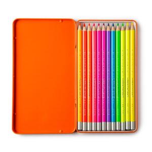 Set of 12 Neon Colour Pencils in a Presentation Tin