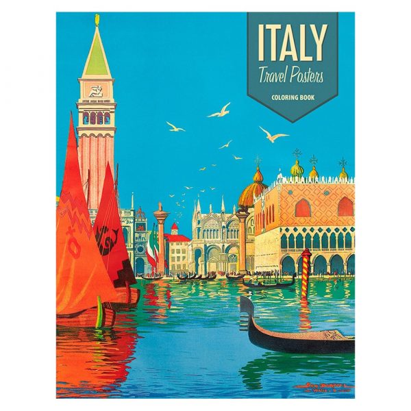 Italy Travel Posters Colouring Book for All Ages