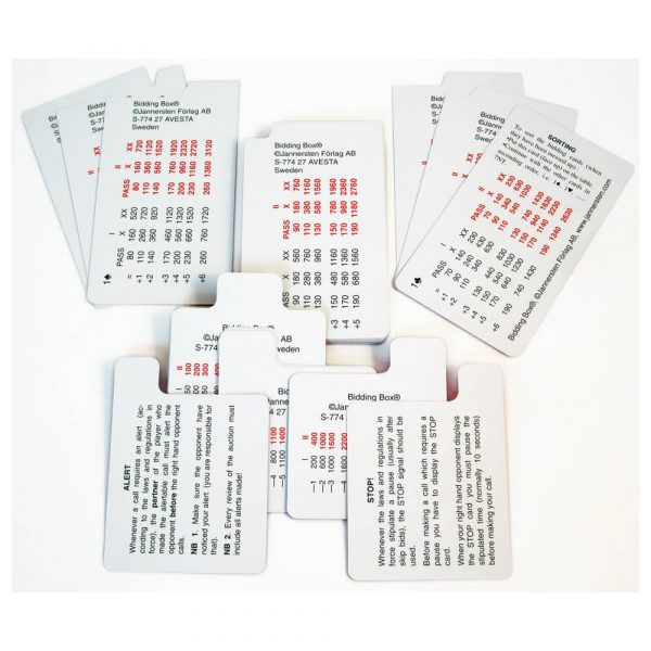 Jannersten 100% Plastic Replacement Bidding Cards - Single