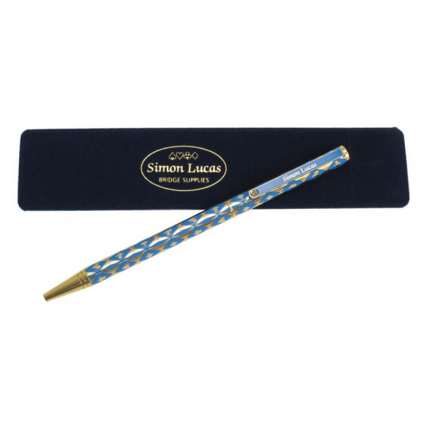 Harlequin Gold Plated Pen - Blue