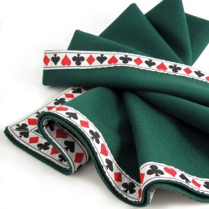 Green Baize Bridge Cloth with Suit Symbol Braid