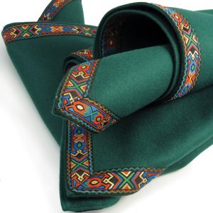 Green Baize Bridge Cloth with Multicolour Braid