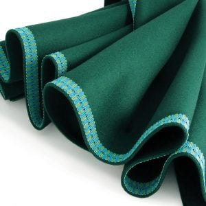 Green Baize Bridge Cloth - Apple Green and Turquoise Two-Tone Border