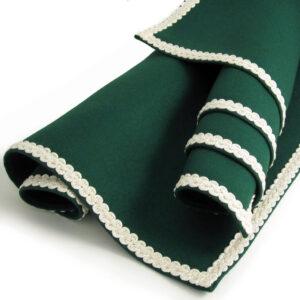 Green Baize Bridge Cloth with Ivory Braid