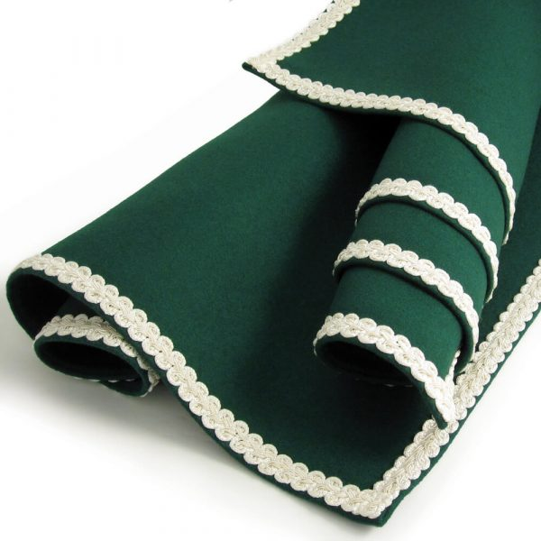 Green Baize Bridge Cloth with Ivory Braid
