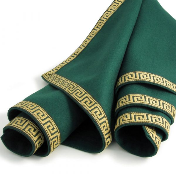 Luxury Green Baize Bridge Cloth - Greek Key Border