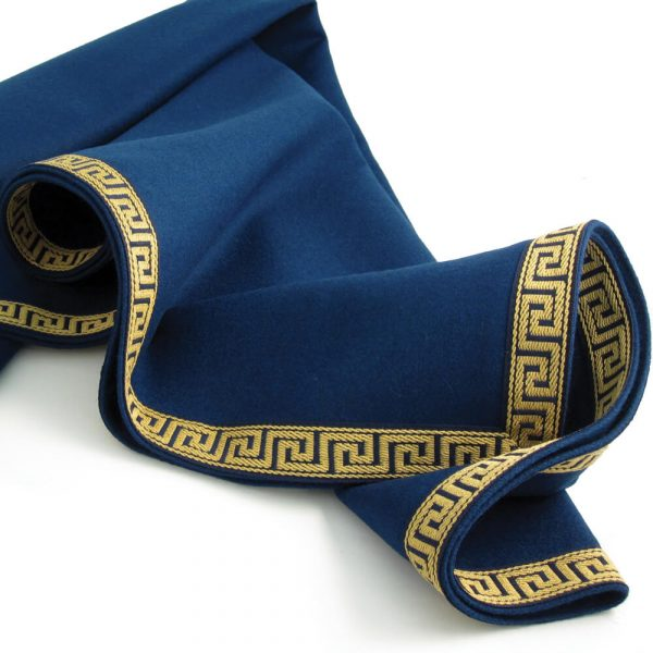 Luxury Blue Baize Bridge Cloth - Greek Key Border