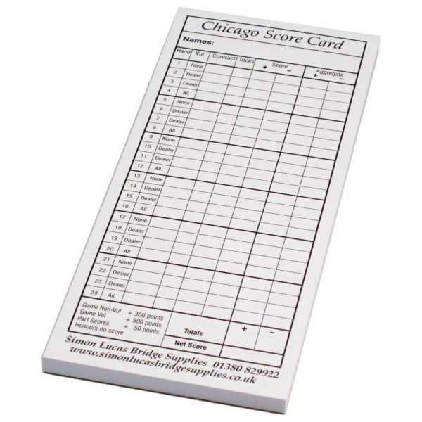 Simon Lucas Pad of Chicago Score Cards