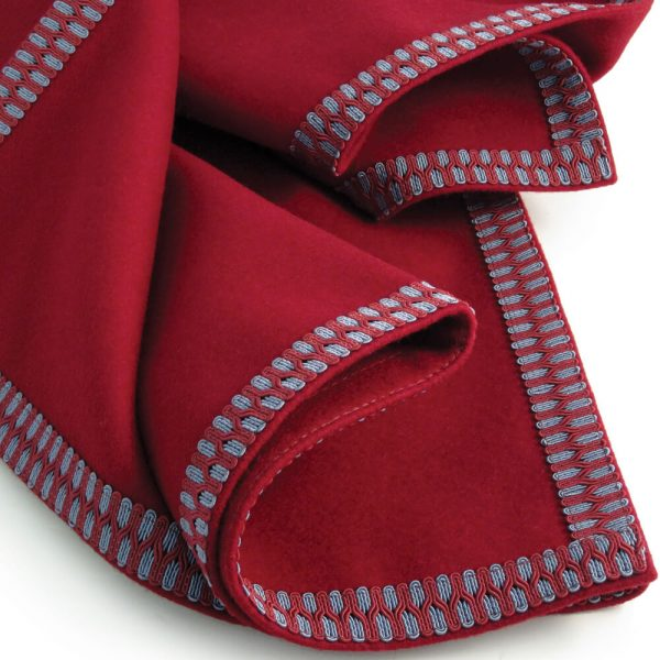 Burgundy Baize Bridge Cloth - Burgundy/Slate Grey Braid