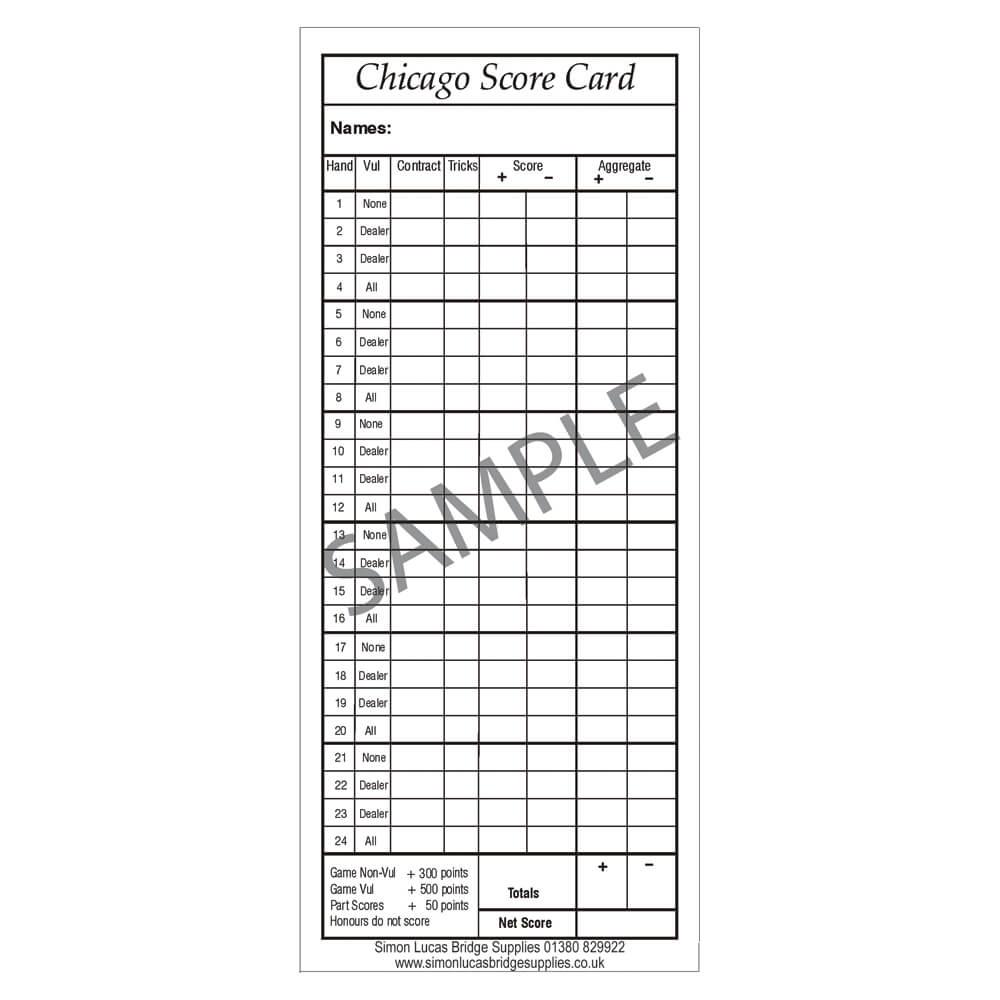 Chicago Score Cards For Bridge Pad Of 100 Simon Lucas Bridge Supplie